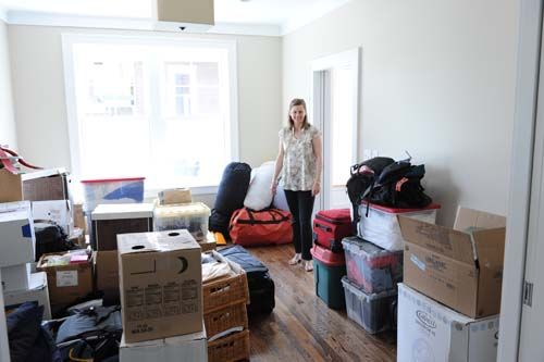 Anne in the den with all of the cra... I mean wonderful personal belongings we moved over