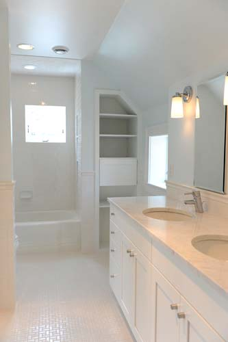 Master Bath - Note laundry chute (door in built-in cabinet)